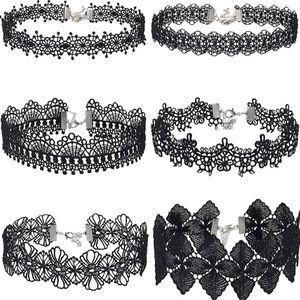 6 PCS Choker Necklace Black Choker Lace